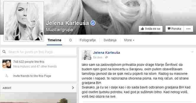 ZBOG NAPADA IZ BIH Karleuša neće biti gost na koncertu Marije Šerifović u Sarajevu!