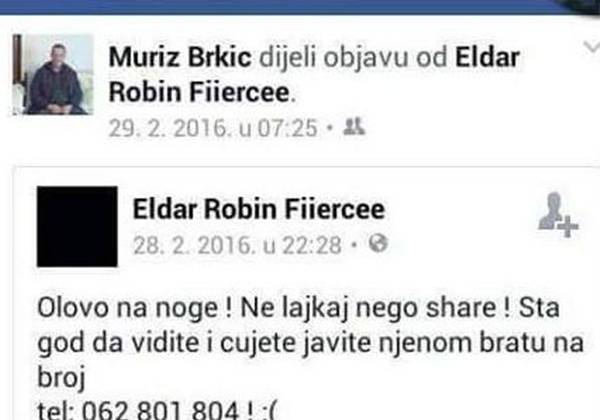 Jedan od ubica Arnele Đogić na Facebooku pozivao ljude da pomognu u potrazi