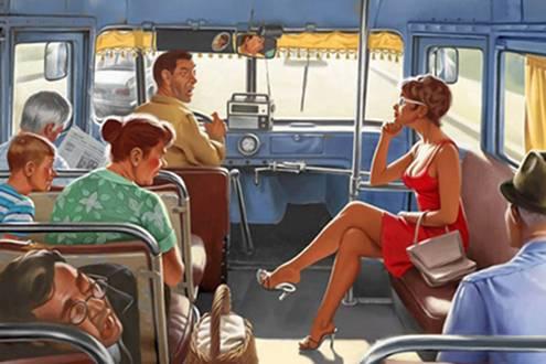 U autobusu se vozi žena, i priča mobilnim telefonom sa drugaricom…