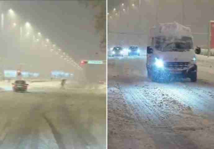 LEDENI PRIZORI NA PUTEVIMA: Pao snijeg, kamioni zaglavili na cesti