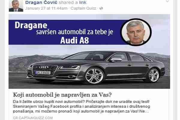 Čović odigrao Facebook kviz i saznao da je Audi A8 njegov savršeni automobil!