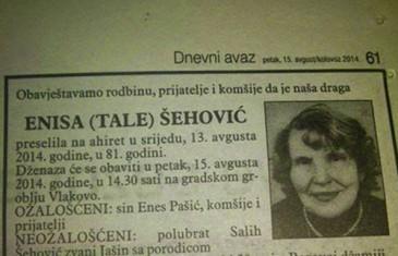 OVAKVU POSMRTNICU NISTE VIDJELI… I ovoga ima u BiH, nažalost!
