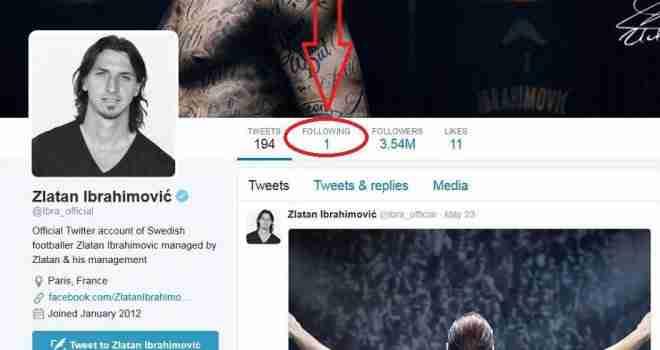 KO JE 'SRETNIK'? Zlatana Ibrahimovića na Twitteru prate milioni, a on samo jedan profil