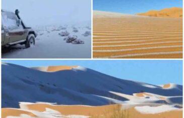 NEVJEROVATNI PRIZORI IZ PUSTINJA: Snijeg pao u Sahari, u Saudijskoj Arabiji izmjerena -2 stepena!